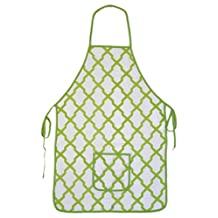 Quality Cotton Lime Green & White Moroccan Kitchen Apron with Large Pocket