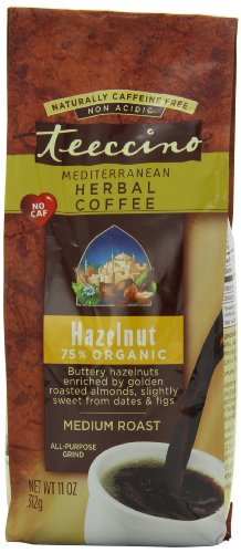 Teeccino Herbal Coffee, Mediterranean Hazelnut, Caffeine-Free 11-Ounce Bags (Pack of 3)