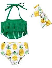 6d237fd6d48fd Newborn Baby Girl Pineapple Tassels Haltel Swimwear Bathing Suit Beachwear  with Headband