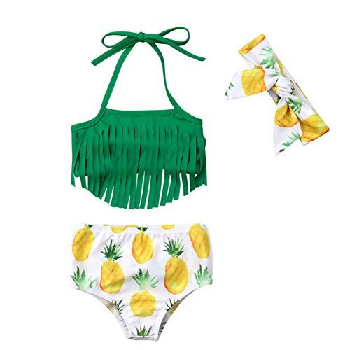 VISGOGO Newborn Baby Girl Pineapple Tassels Haltel Swimwear Bathing Suit Beachwear with Headband (6-12 Months, Green)