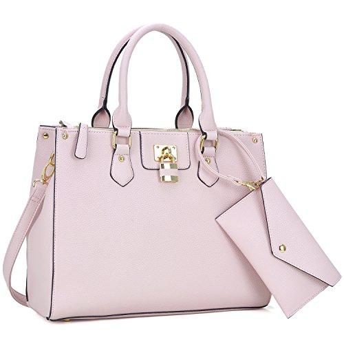 w Coin Fn6486 Padlock Bag Purse Shoulder Leather Satchel Pink Designer Tote Handle Women's Dasein Top Handbag fqTAAS