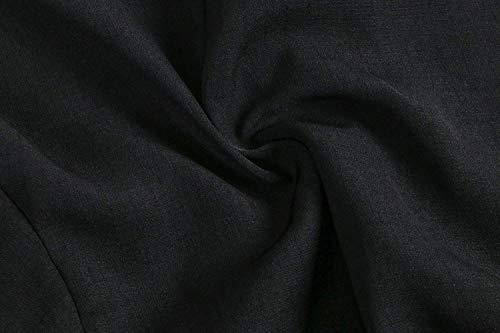 Rotondo con Collo Camicia Donne Donna Shirt con Slim Schwarz Bluse Tops Eleganti Monocromo Libero Manica Grazioso Camicetta Estivi Fit Fashion Tempo Corta Volant SIXtqqCxw