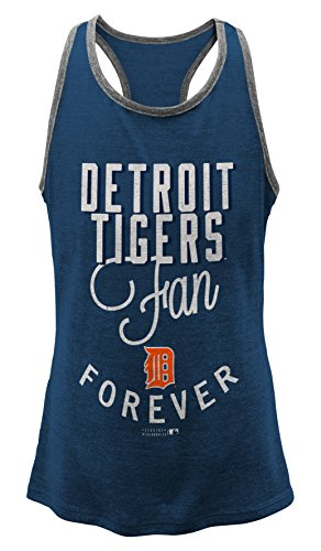 OuterStuff MLB Detroit Tigers Girls 7-16 I'M A Fan Forever Racer Tank-S (7-8)