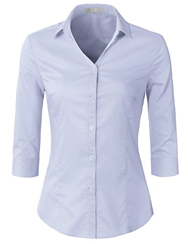 H2H Womens Classic Solid 3/4 Sleeve Button Down Blouse Dress Shirt Lilac M (AWTSTS0366)