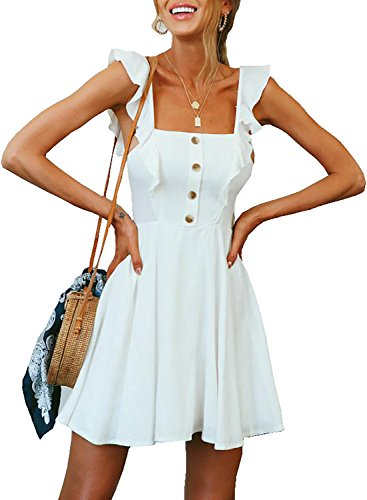 Solid Color Women Dresses - STKAT Women's Summer Sleeveless Ruffle Solid Color Button Down A Line Beach Short Dress