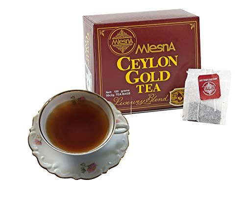 - Mlesna Gold Pure Ceylon Black Tea Bags -Ozone Friendly Fine Tea 100 Individual Bags Best for Hot Tea or Iced Tea (2 Pack of 50 Tea Bags)