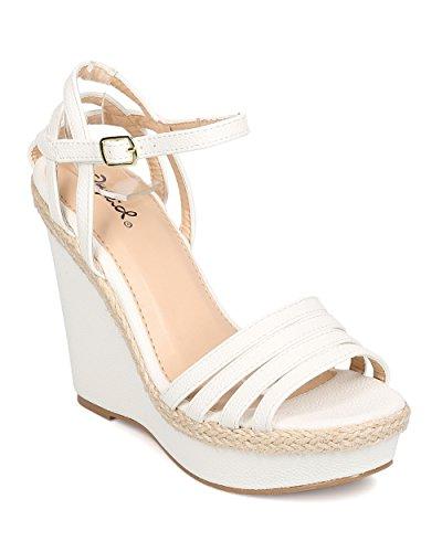 e5e6df4c8f17 Qupid FA37 Women Leatherette Peep Toe Espadrille Ankle Strap Platform Wedge  Sandal - White good