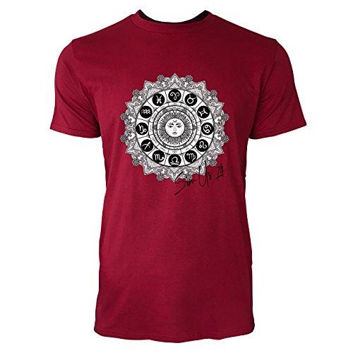 SINUS ART ® Mystischer Tierkreiszeichen mit Sonne in der Mitte Herren T-Shirts in Independence Rot Fun Shirt mit tollen Aufdruck