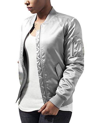 Jacket 473 Giacca Donna Satin Bomber Urban Classics Argento Ladies silver HAzqwIS