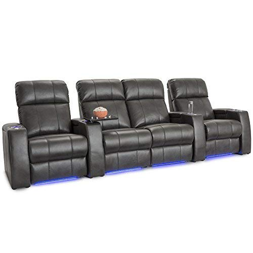 Seatcraft Sonoma Home Theater Seating Power Recline Leather Gel with Adjustable Powered Headrests (Grey, Row of 4 with Middle Loveseat) ()