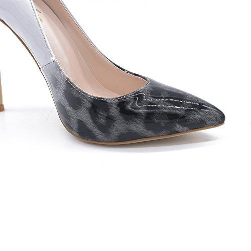 Genshuo Kvinnor Mode Spetsig Tå Leopard Tryckta Pumpar Hög Klack Stiletter Sexig Slip På Finskor Gråvit Lutning Leopard