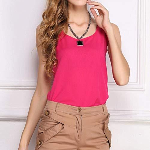 Shirt Eleganti Pink Traspirante Estivi Sottile Smanicato Moda Spalline Moda O Canotte Donna Shirts Monocromo Giovane Collo Canottiera Grazioso Senza dt4UwqU