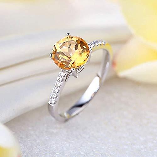 14K White Gold Wedding Engagement Ring 2 Ct Yellow Topaz 0.12 Ct Natural Diamond (0.12 Ct Natural)