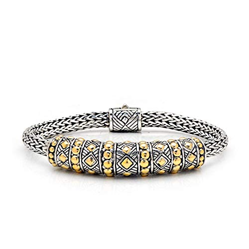 - 925 Sterling Silver and 18 Kt Yellow Gold Bracelet with Tulang Naga Chain 4x6 mm and Spring Lock with Balinese Woven Motive Size 7