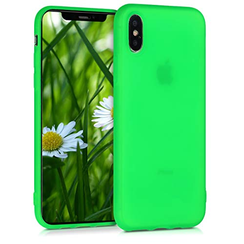 kwmobile TPU Silicone Case for Apple iPhone Xs - Soft Flexible Shock Absorbent Protective Phone Cover - Neon Green