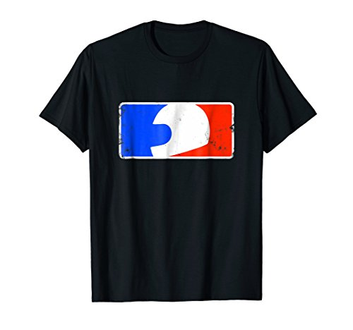 Red, white, and blue helmet logo: ride motorcycle t-shirt