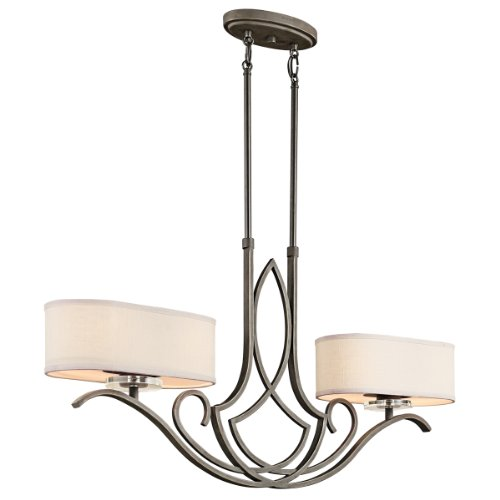 Kichler  42480OZ Leighton 4-Light Convertible Island Fixture, Olde Bronze and White Fabric Shades with Satin-Etched Glass