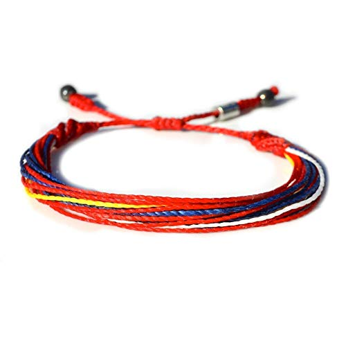 RUMI SUMAQ Soccer Bracelet for Men and Women String Bracelet in Red, Blue, Yellow and White: Handmade Macrame Friendship Bracelet with Hematite Stones