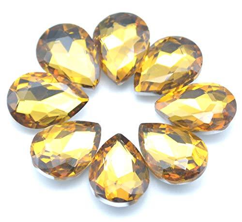 Light Yellow Rhinestones - Catotrem Mixed Color Teardrop Shape Sew on Glass Crystal Diamante Rhinestone Craft 50pcs, 13x18mm(Yellow-50pcs)
