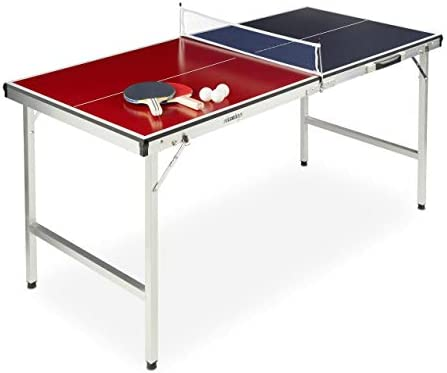 Relaxdays Mesa Ping Pong Plegable, Set con 2 Palas, Red y 3 ...