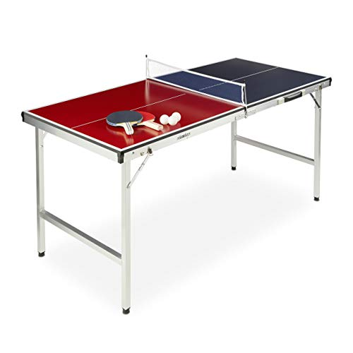 Relaxdays Mesa Ping Pong Plegable, Set con 2 Palas, Red y 3 Pelotas, DM y Aluminio, 67,5 x 151 x 67,5 cm, Azul y Rojo