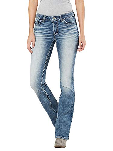 Lynwitkui Women's Basic Slim Bootcut Jeans Flare Pants Low Rise Pull On Stretch Straight Legs with 5 Pockets