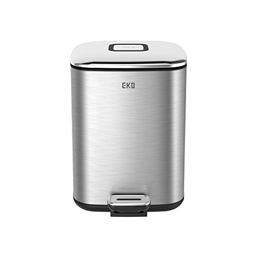 [EKO Small Square Metal Step Trash Can with Lid, 6 Liter, Stainless Steel] (Square Steel Step)