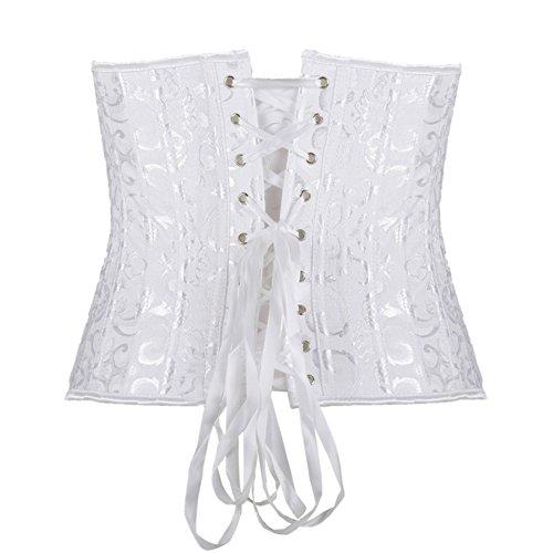 PULABO Corsé Para Mujeres Corpino de Jacquard Deshuesado de Acero con Cintura de Cincher White