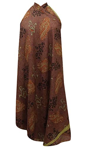 Indianbeautifulart Les Femmes Check Imprimer Pure Soie Vintage Saree rversible Rouge Wrap Summer Beach Dress Rose Brown & Light Brown
