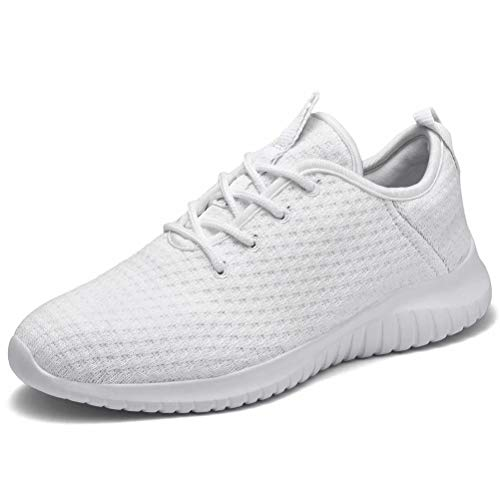 konhill Women's Comfortable Running Sneakers - Walking Tennis Casual Athletic Sport Shoes 12 US All White, 44 (Size Tennis Shoes For 12 Women)