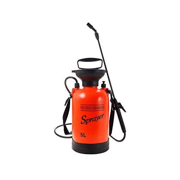GARTOL Pump Sprayer in Lawn and Garden 1.3-Gallon Portable Pressure Sprayers for Fertilizer, Watering Plants, Cleaning, Includes Adjustable Cone Nozzles and Portable Shoulder Strap