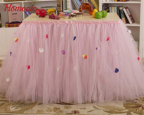Table Skirt Pink Tulle Table Skirt Pleat Style Wedding Hotel Table Decoration Tablecloth Decoration Pink 80 x 91.5 CM - Pleats Striped Skirt