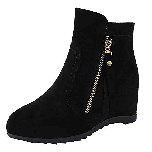 AgrinTol Fashion Solid Color Martin Boots Increase High Boots Suede Round Head Women Shoe -