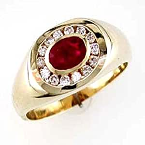 14k gold mens ruby and ring size 10