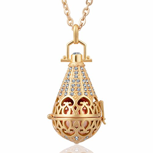 EUDORA Harmony Bola CZ Vintage Angel Chime Caller Pendant 16mm Prayer Bell 30 Inches Necklace CZ
