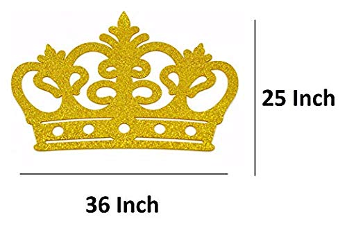 Crown Glitter Foam EVA Styrofoam Banner, Backdrop Decoration Wall Decor/Baby Shower Decorations/Party Decorations (Gold, 36'')