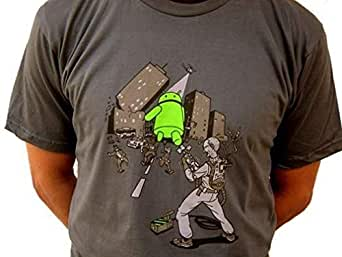 Andy vs Steve jobs Android vs apple ghost busters godzilla style size Medium american apparel t-shirt