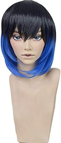 嘴平 伊之助 風 コスプレウィッグ cosplay wig 耐熱 かつら イベント ハロウィン 仮装 専用ネット付 ブラック&ブルーミックス
