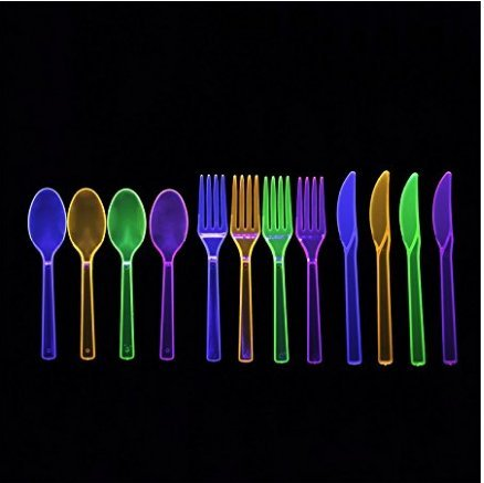 Party Essentials Brights Assorted Neon: 160- 6 inch Plates, 192 Beverage Napkins and 192 Place Settings of Disposable Extra Heavy Duty Full Size Cutlery (576 pieces); Bundled by Oasis MercantileÊ (12) by Party Essentials (Image #6)