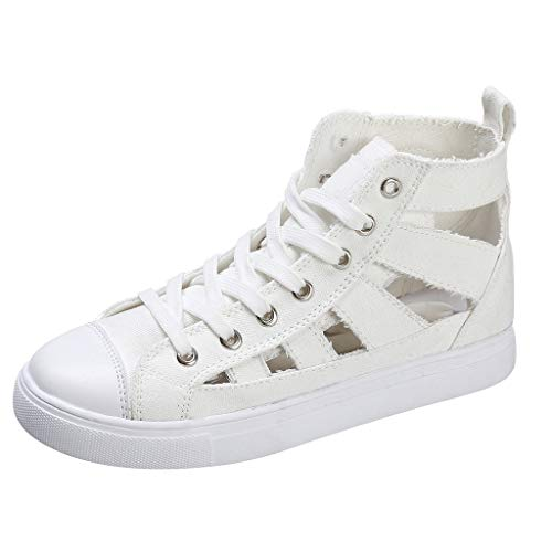 (Canvas High Top Sneaker for Women Hollow Out Sport Shoes Sneaker White)