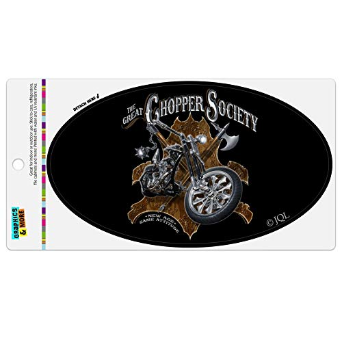 Graphics and More Great Chopper Society Axe Mace Biker Motorcycle Automotive Car Refrigerator Locker Vinyl Euro Oval Magnet ()