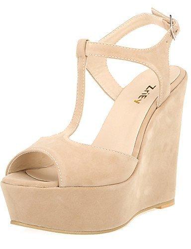 ShangYi Womens Shoes Fabric Wedge Heel Wedges / Heels / Peep Toe / Platform / Open Toe Sandals Party & Evening / Dress / almond