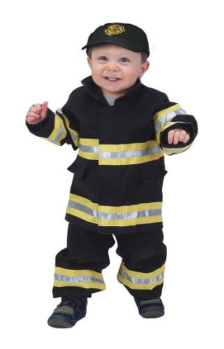 18m Junior Firefighter Suit (Jr. Fire Fighter Suit with embroidered Cap, size 18Month (black))
