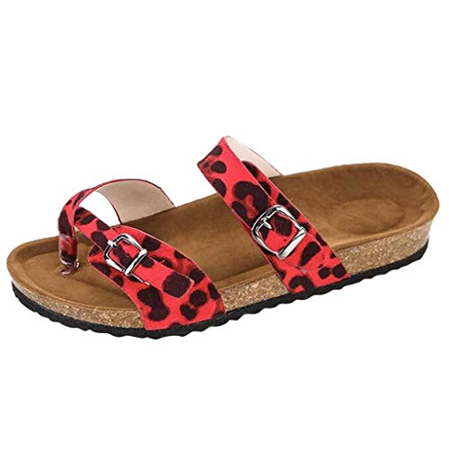 - Women's Fashion Flat Ankle Buckle Sandals Gladiator Thong Flip Flop Sandals Slippers Summer Beach Travel Shoes Red