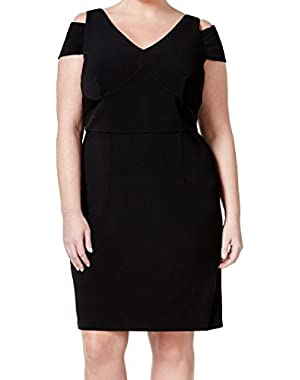 Calvin Klein Womens Plus Cold-Shoulder Sheath Dress Black 20W