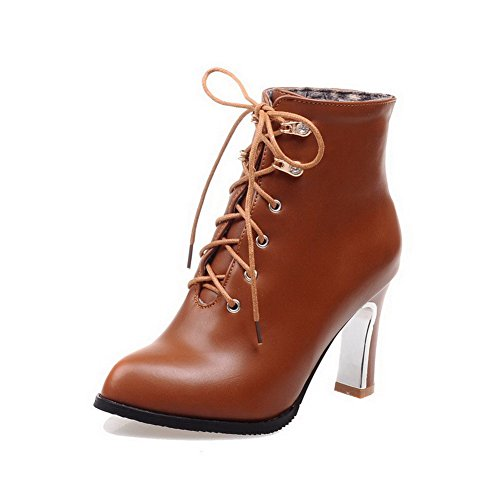 Material AmoonyFashion Toe Top Soft Womens Up Pointed Lace Low 39 Closed Heels High Boots Brown HHZnx4BRw
