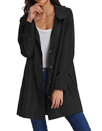Women's Waterproof Raincoat Outdoor Hooded Rain Jacket Windbreaker L Black