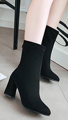 Aisun Donna Semplice Dressy Scarpe A Punta Stivaletti Zip Up Blocco Stivaletti Tacco Alto Con Cerniera Nera
