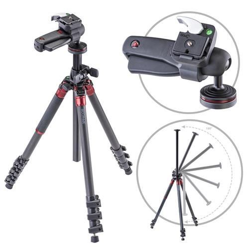 3Pod Orbit Carbon Fiber Tripod for DSLR Photo & Video Cameras, 4 Section Extension Legs, with Pistol Grip Ballhead, Bubble Level, with Bag. 69''