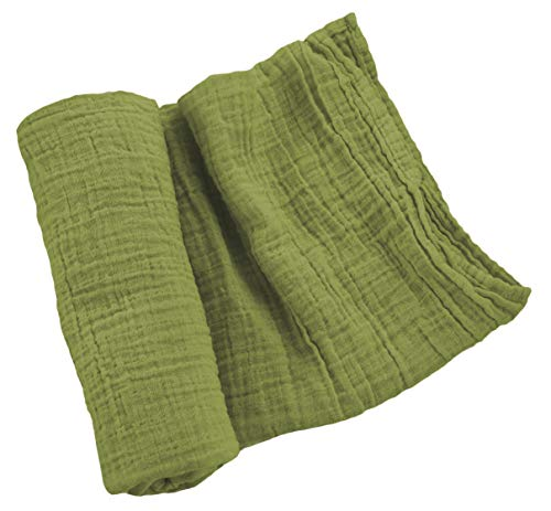 Sugar House Shop Premium 100% Imported Cotton, Thick and Durable Muslin Fabric Swaddle Blanket, Unmatched Comfort, Many Colors, for Infants and Toddlers, 47in x 47in, 8oz, Olive Green